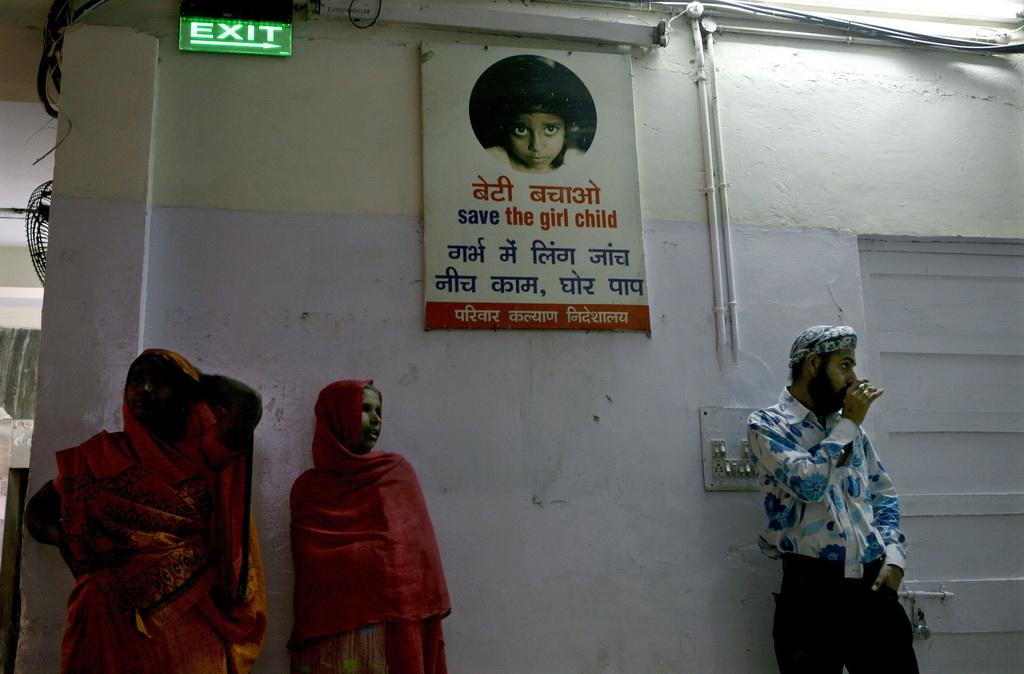 """Photo d'une affiche de la campagne """"Sauvez les petites filles"""" dans un hôpital de New Delhi"""