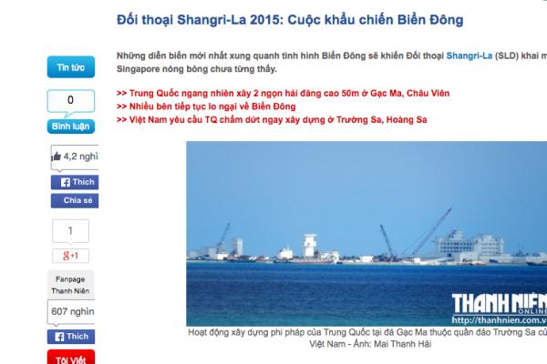 Copie d'écran du quotidien Thanh Niên