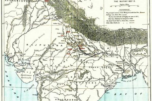 Carte montrant la rébellion de 1857