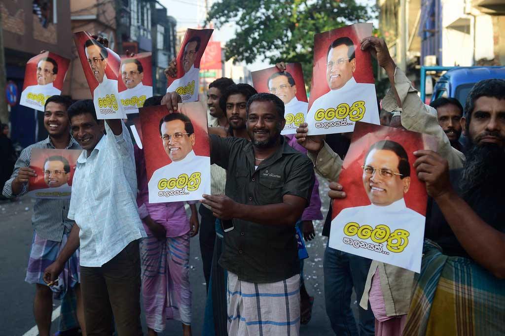 Photo de supporteurs du nouveau président sri-lankais Maithripala Sirisena