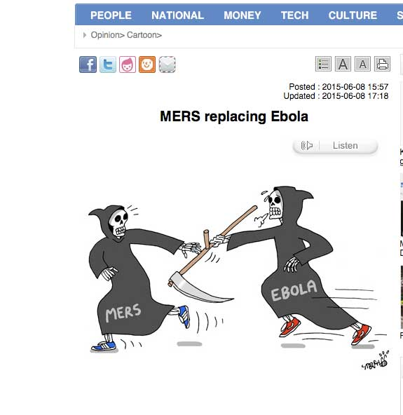 Copie d'écran du Korea Times du 8 juin 2015.