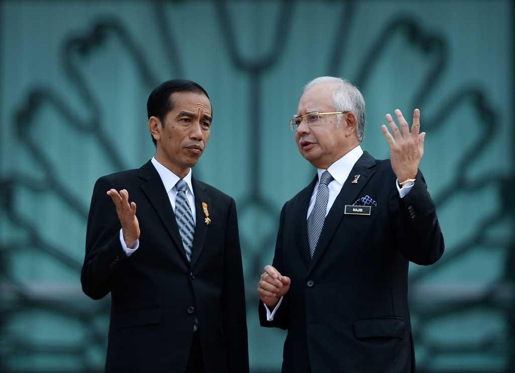 Photographie des présidents indonésien et malaisien