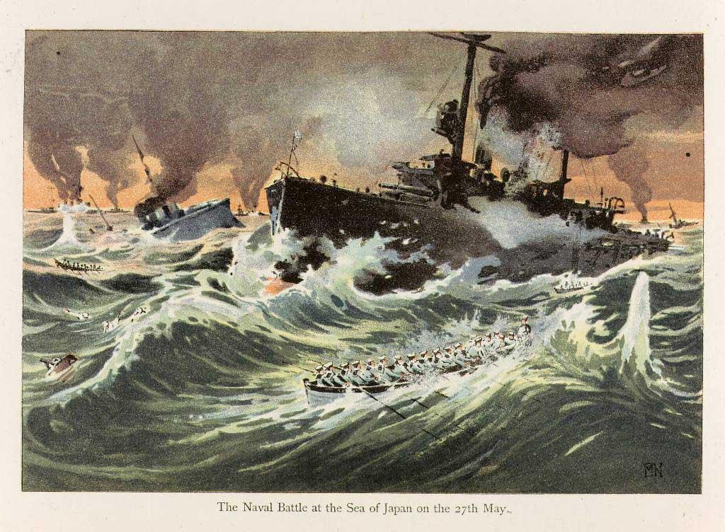 Représentation de la bataille de Tsushima
