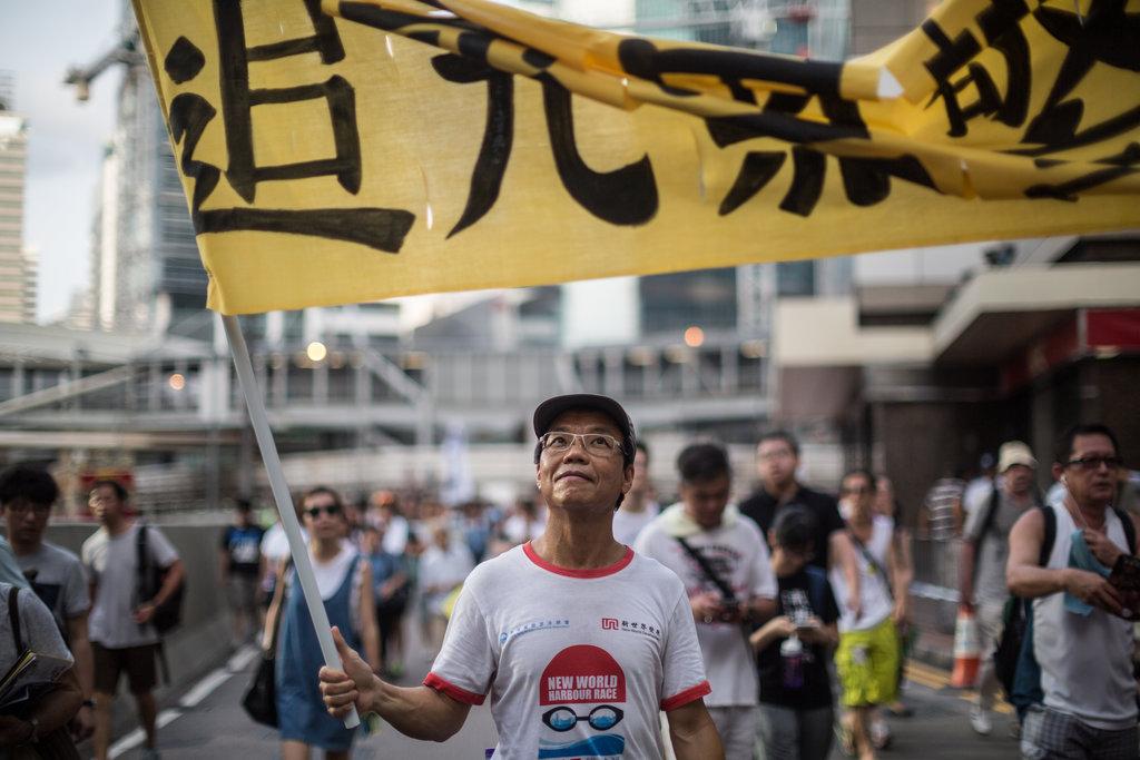 Portrait d'un manifestant le 1er juillet 2015, date anniversaire de la retrocession de Hong Kong à la Chine, lors d'une manifestation pro-démocratique à Hong Kong
