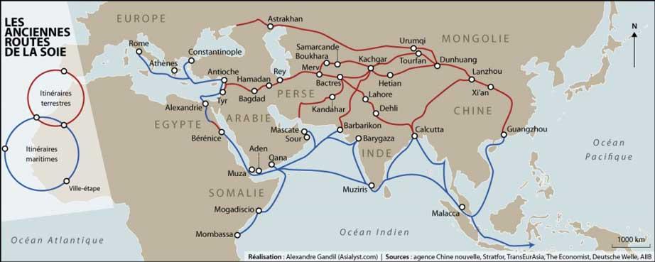 Carte : les faisceaux terrestres et maritimes de la route de la soie historique. Team Directory