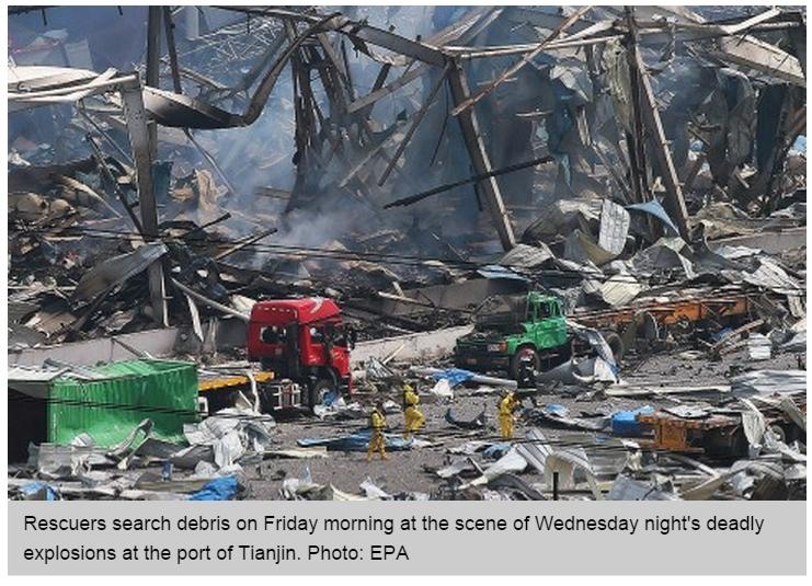Copie d'écran du South China Morning Post, le 14 août 2015