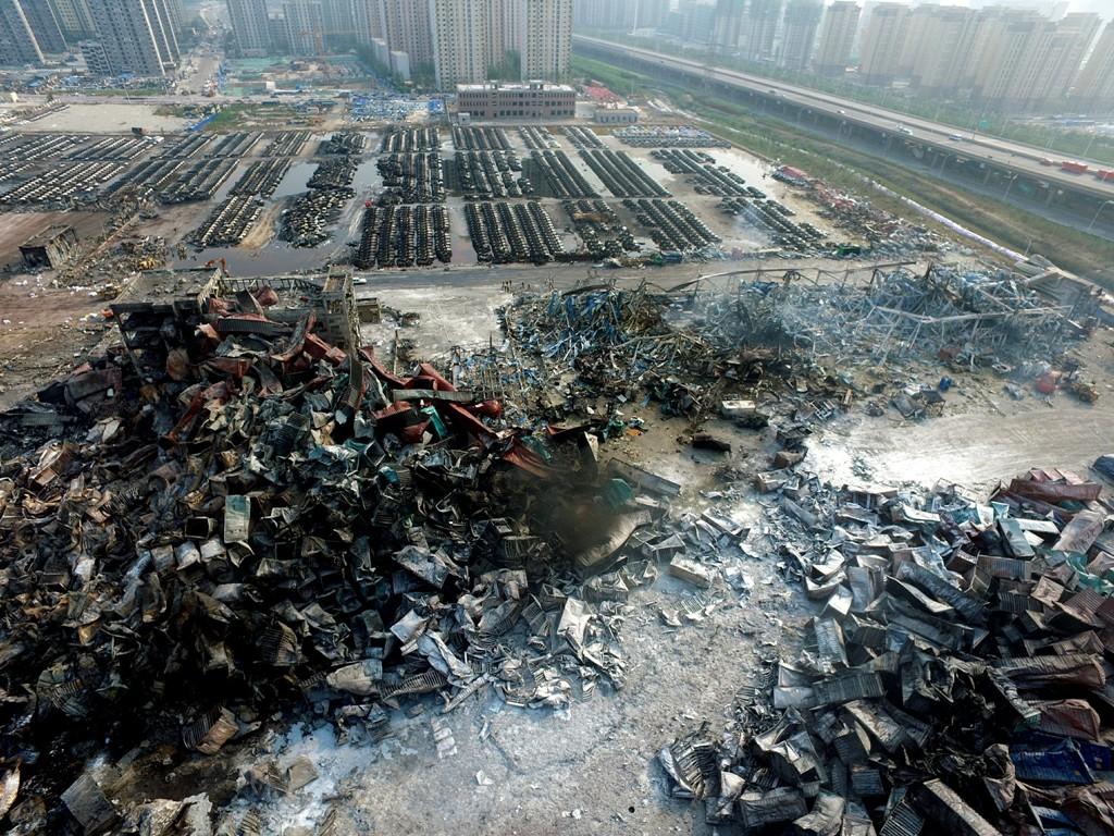 Le site de la double explosion de Tianjin, dans la Binhai New Area, le 17 août 2015