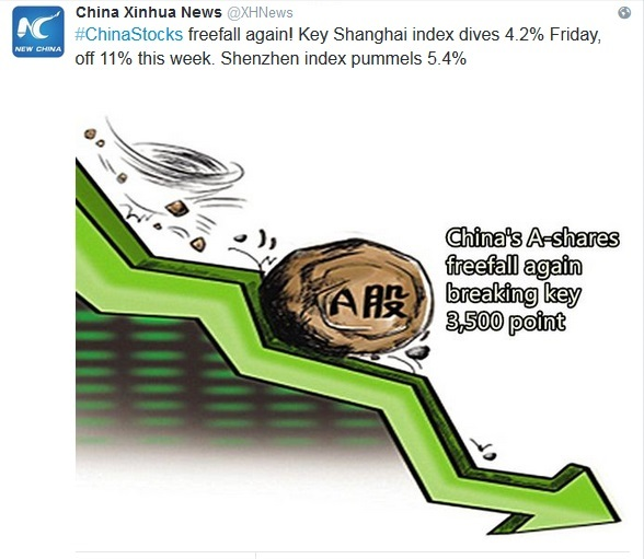 Copie d'écran du compte Twitter de l'agence officielle chinoise Xinhua, le 21 août 2015