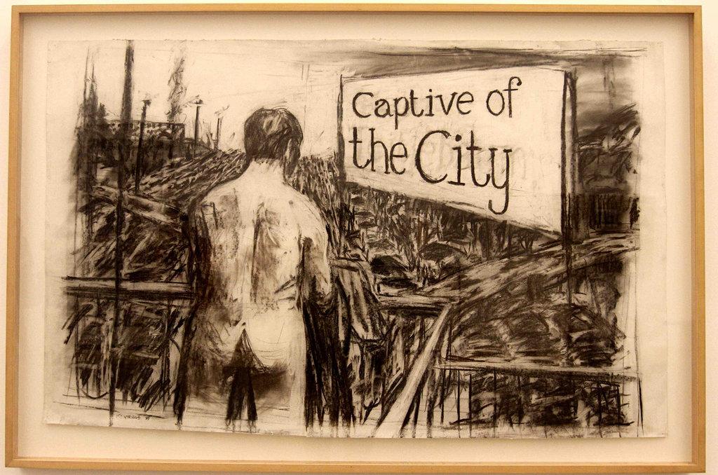 Détail de l'œuvre de William Kentridge présentée lors d'une rétrospective au Mexique au Museo Universitario de Arte Contemporáneo en el Centro Cultural Universitario