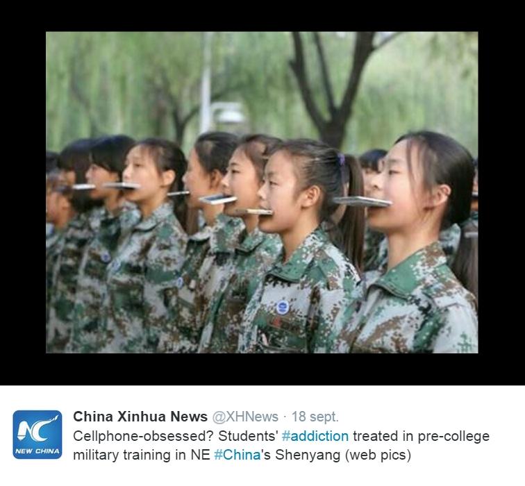 Copie d'écran du compte twitter de l'agence Xinhua, le 18 septembre 2015.