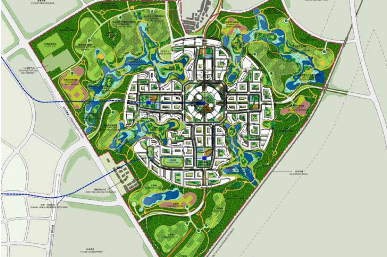 Projet de ville satellite de Chengdu de l'agence AS+GG de 1.3 km2. (Crédit : Adrian Smith, Gordon Gill)