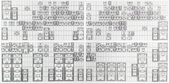 """Trame urbaine du Pékin historique: ville fractale avec la déclinaison de la cour carrée à échelles successives. Images tirées du livre de Serge Salat, """"Les Villes et les Formes"""", CSTB 2011."""