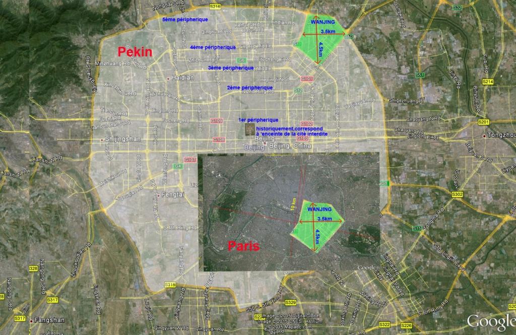 Pékin circonscrit dans son 5e périphérique. Nanjing, au Nord-est. Paris, incrusté sur le plan de Pékin avec la même échelle, et Wangjing intégré dans Paris.