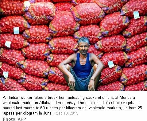 En Inde, les prix de l'oignon ont flambé. Copie écran du Taipei Times, le 10 septembre 2015.
