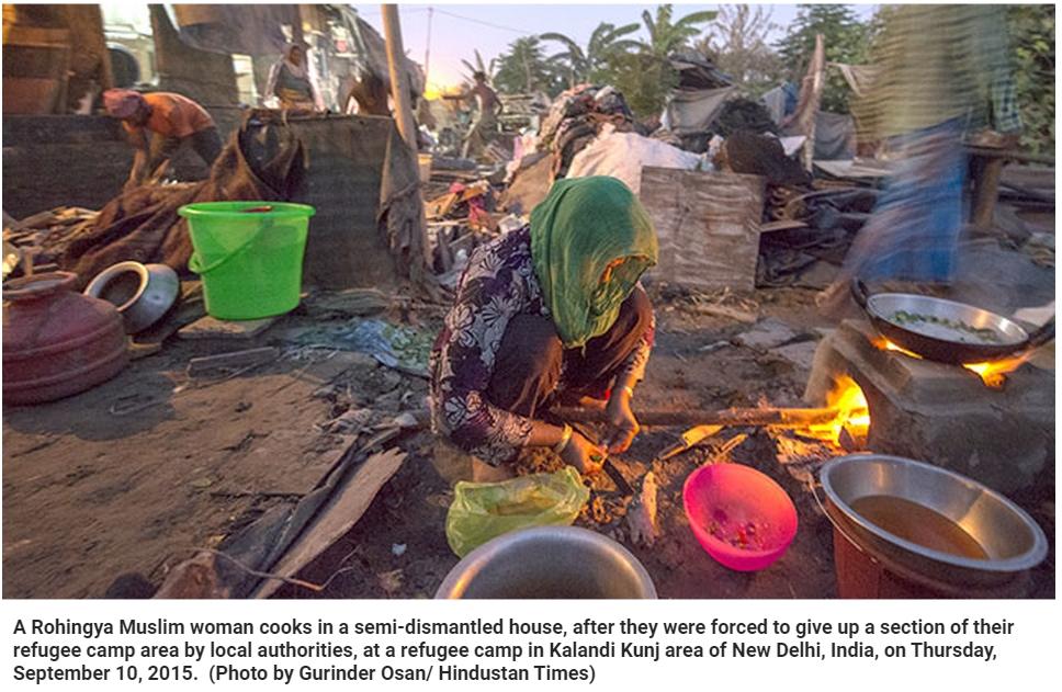 Effets de miroirs : comment l'Inde gère ses réfugiés? Ici, une dame membre de l'ethnie musulmane Rohingya. Copie d'écran du Hindustan Times, le 14 septembre 2015.