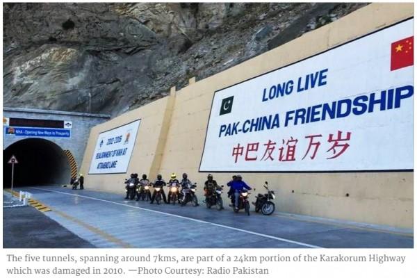 Tunnels de l'amitié construits par la Chine au Pakistan. Copie d'écran de Dawn, le 15 septembre 2015.