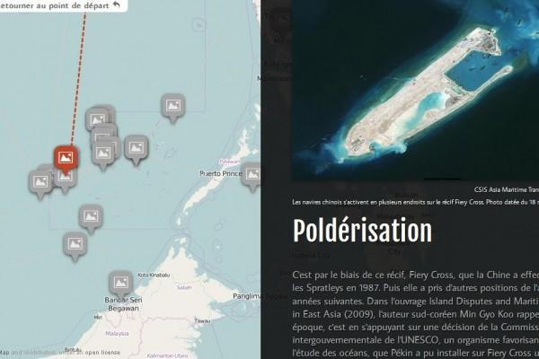 Copie d'écran de notre infographie pour tout comprendre de l'histoire et l'actualité des îles Spratleys, en mer de Chine du Sud.