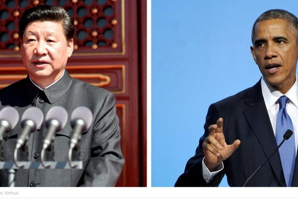 Le président chinois Xi jinping et son homologue américain Barack Obama. Copie d'écran du site South China Morning Post, le 18 septembre 2015 (Photo : Xinhua).
