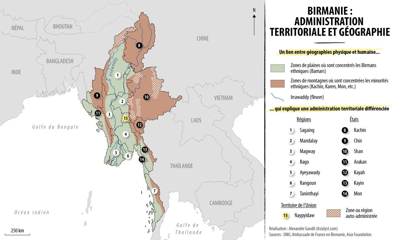 Carte : administration territoriale de la Birmanie. Le lien entre géographie physique, géographie humaine et type d'administration est flagrant. Réalisation : Alexandre Gandil.