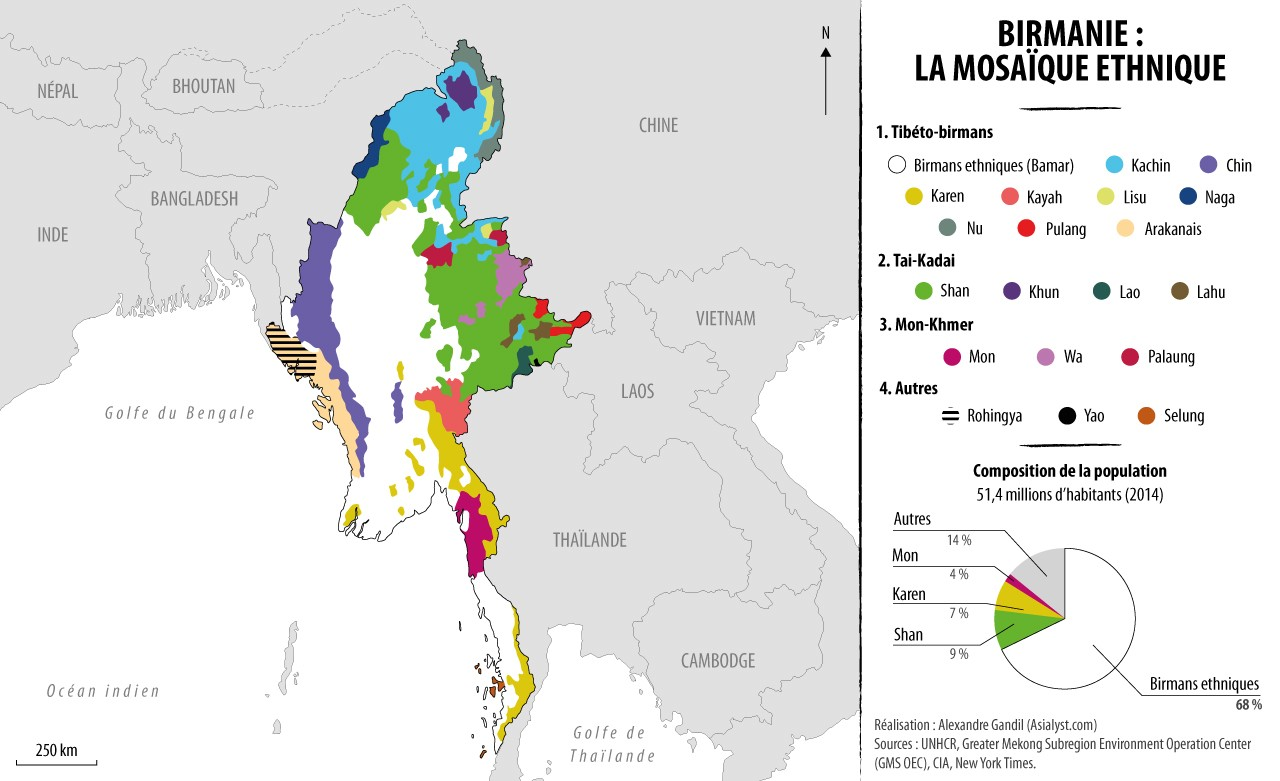 Carte : les différentes ethnies en Birmanie. Réalisation : Alexandre Gandil.