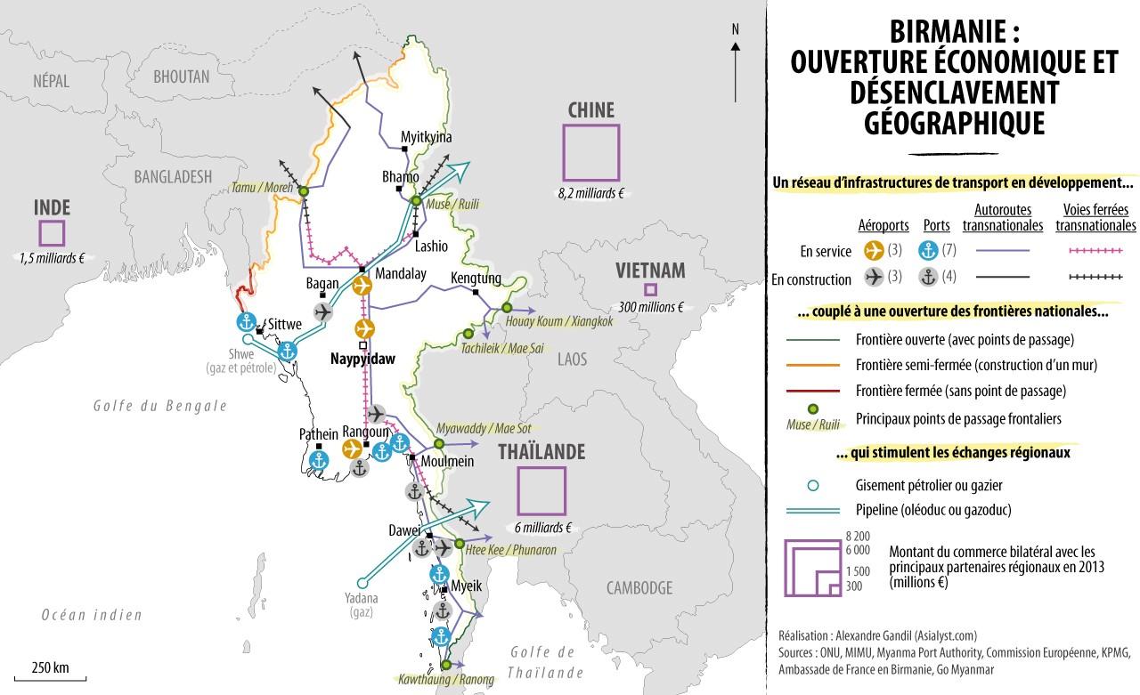 Carte : ouverture économique de la Birmanie. Les investissements étrangers et le volontarisme du gouvernement central poussent au désenclavement géographique du pays. Réalisation : Alexandre Gandil.