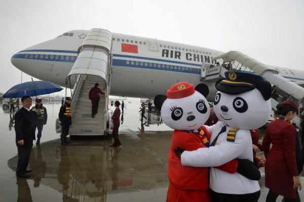Employée chinois habillés en panda