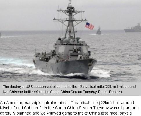 Ce navire américain patrouillant près des Îles Spratleys et qui énerve tant les Chinois. Copie écran du South China Morning Post, le 29 octobre 2015.