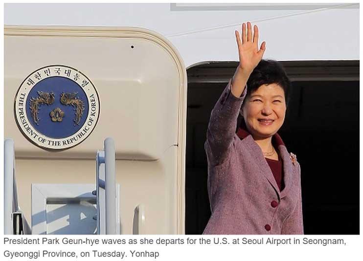 La présidente sud-coréenne Park Geun-hye est actuellement en pleine tournée américaine. Copie d'écran du Korea Herald, le 14 octobre 2015.