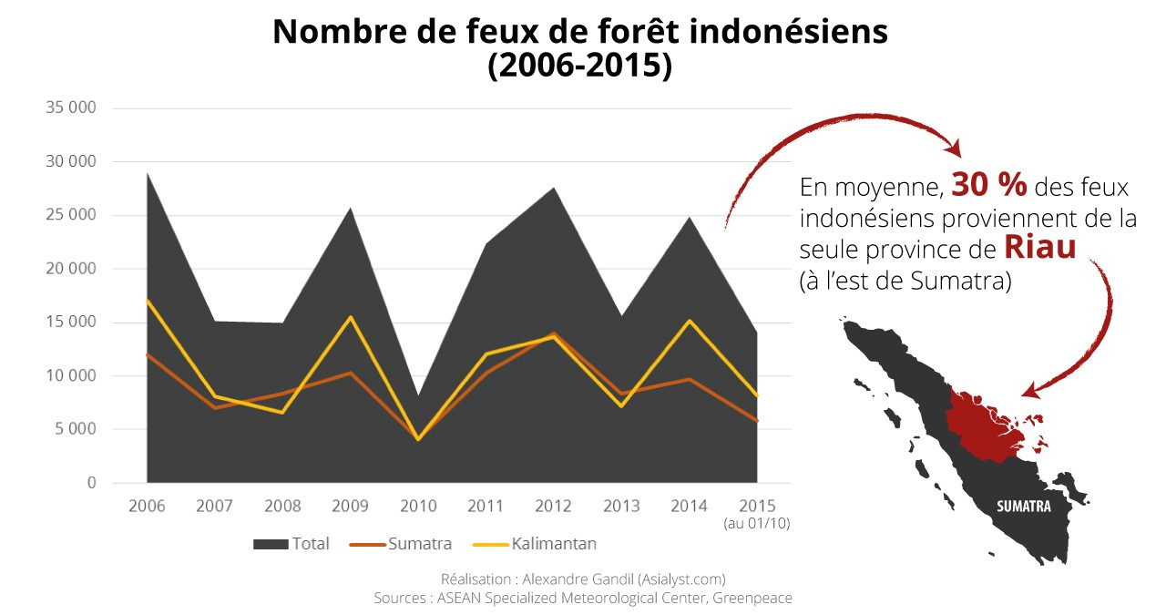 Infographie : de 2006 à nos jours, le nombre annuel de feux est assez variable. Mais 2015 pourrait bien être une année record. Réalisation : Alexandre Gandil.