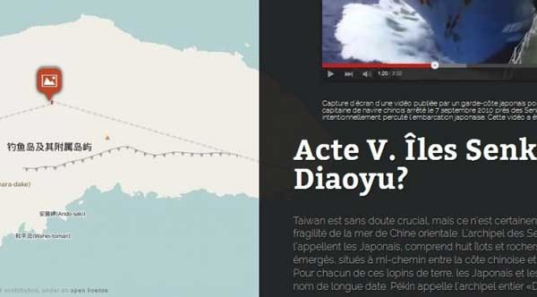 Copie d'écran de notre infographie pour tout comprendre de l'histoire et l'actualité des îles Senkaku/Diaoyu, en mer de Chine orientale.