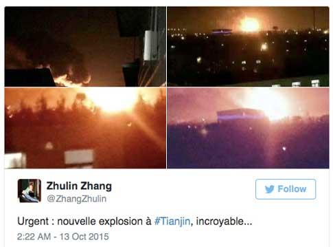 Nouvelle explosion chimique à Tianjin. Copie d'écran du réseau social Twitter.