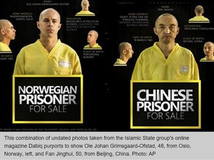 Le président Xi Jinping a confirmé aujourd'hui l'exécution du premier otage chinois de Daech, Fan Jinghui - et avec lui un otage norvégien, Johan Grimsgaard-Ofstad. Copie d'écran du South China Morning Post, le 19 novembre 2015.
