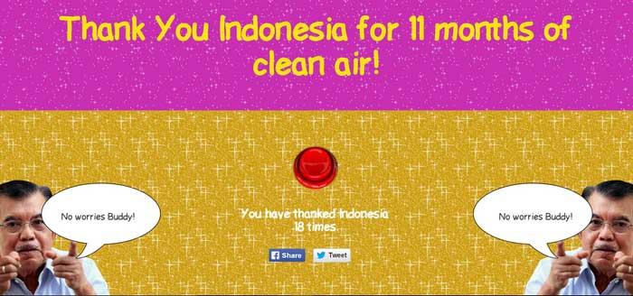 """Vous aussi, remerciez le vice-président indonésien pour les 11 mois d'air frais par an qu'il procure à la région ! Copie d'écran de """"Thank you Indo for the fresh air"""", le 30 octobre 2015."""