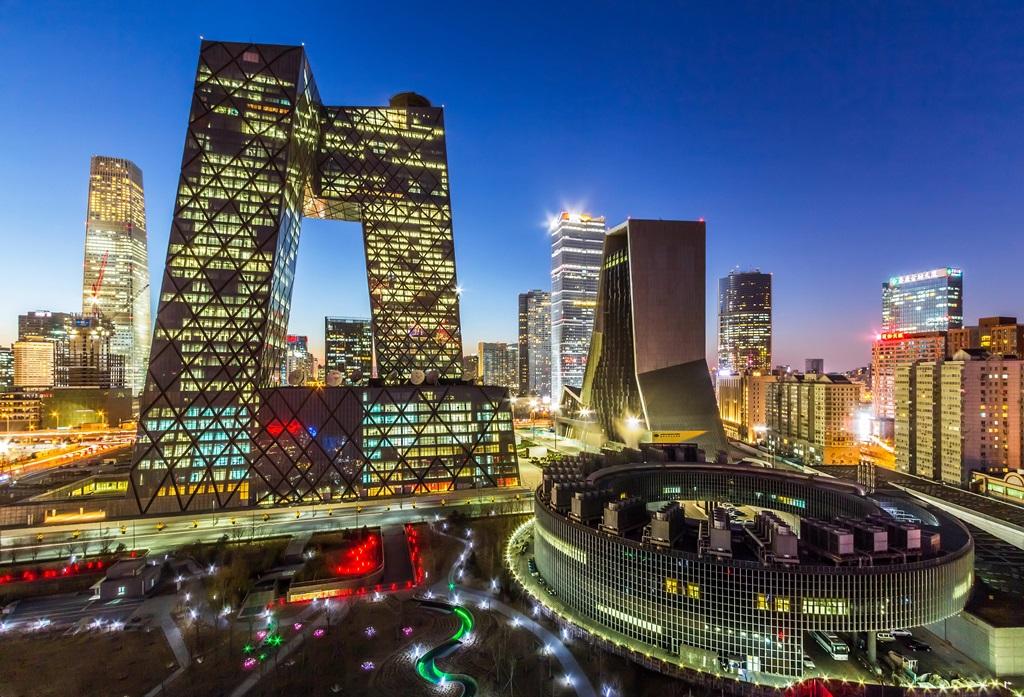 Le quartier d'affaires autour de la tour CCTV à Pékin, le 5 janvier 2015.