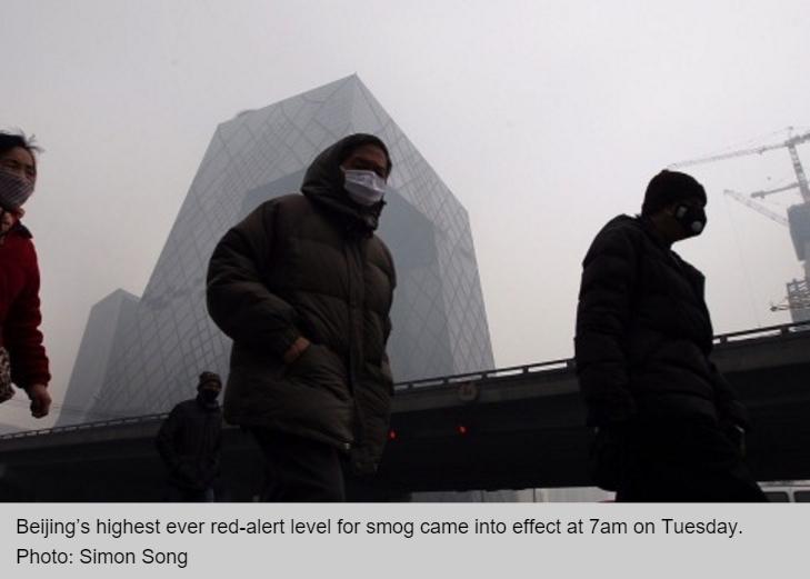 Pour la première fois, Pékin a déclenché ce mardi à 7h (heure locale) son alerte rouge contre la pollution.
