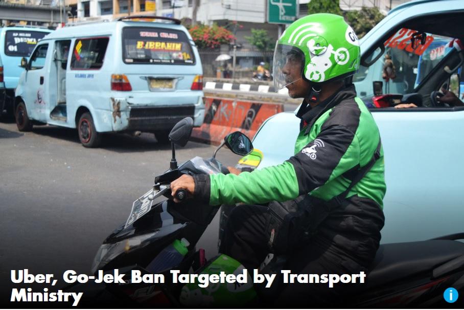 """Les services de transport """"Go-Jek"""" et Uber ne seront finalement pas interdits en Indonésie."""