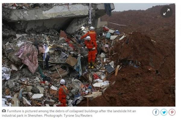 Glissement de terrain à Shenzhen, dans le sud de la Chine, une trentaine de bâtiments se sont effondrés.