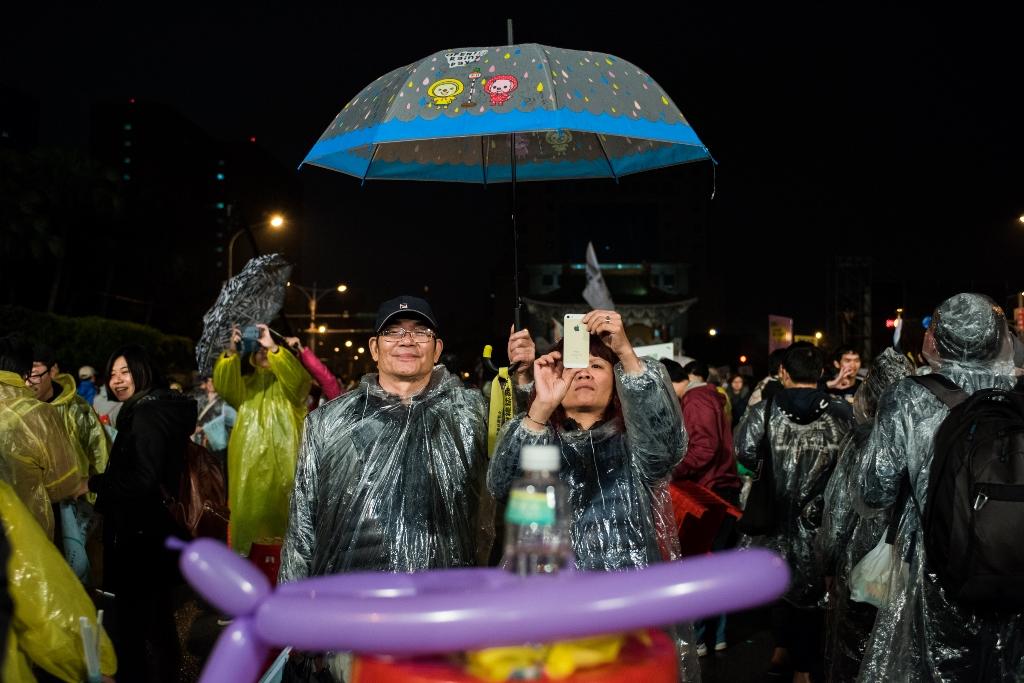 Lors du dernier meeting de Tsai Ing-wen devant le palais présidentiel à Taipei, le 15 janvier 2016.
