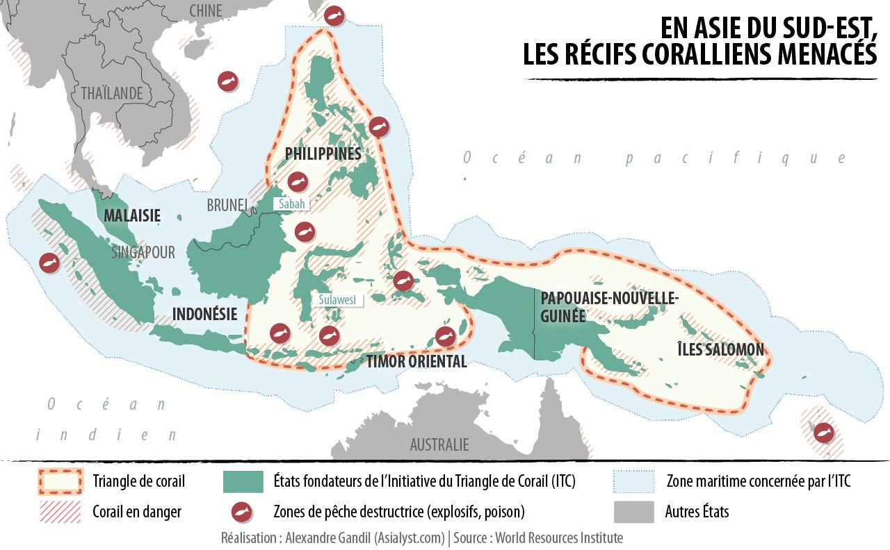 Carte du Triangle de Corail menacé par la surpêche.