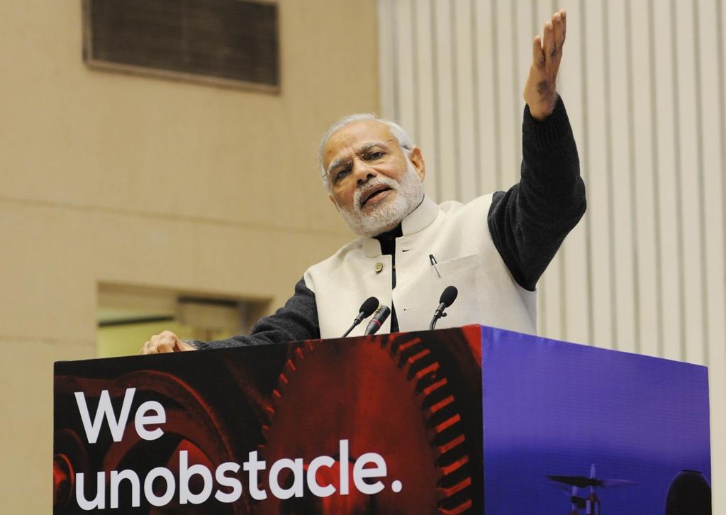 Le Premier ministre indien Narendra Modi lors d'une conférence pour soutenir les startups à New Delhi, le 16 janvier 2016