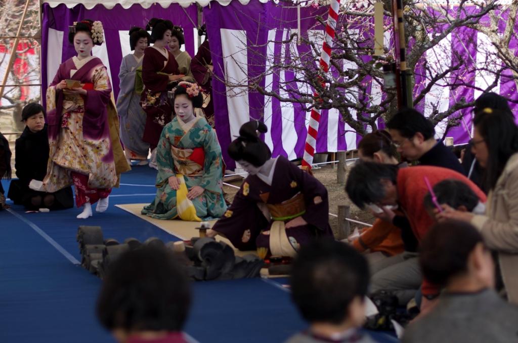 Cérémonie du thé en extérieur du 25 février (sur tatamis), dans le sanctuaire shintoïste Kitano Tenmangû à Kyoto.