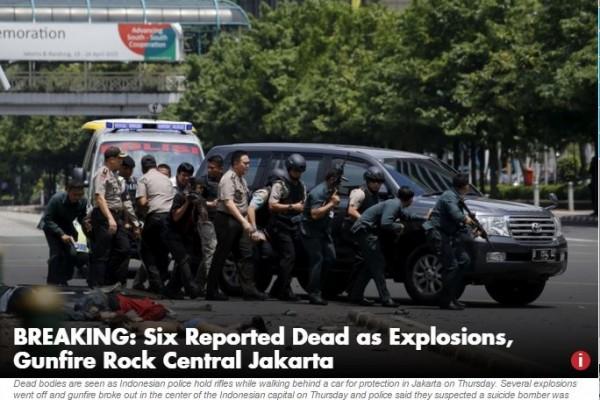"""Un attentat revendiqué par le groupe Etat Islamique fait au moins 6 morts à Jakarta. Copie d'écran de """"Jakarta Post"""", le 14 janvier."""
