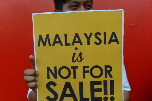 Un manifestant malaisien durant un rassemblement contre le partenariat