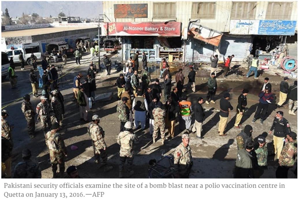 Un attentat-suicide a fait au moins 14 morts et 10 blessés devant un centre anti-polio à Quetta (Pakistan)