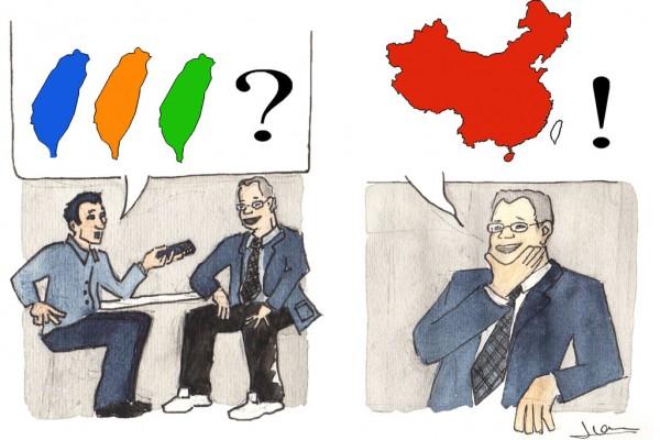 """""""Nathan Batto"""", un dessin d'Ivan Gros. Le journaliste demande qui sera le vainqueur des élections taïwanaises : le Kuomintang, parti conservateur au pouvoir (en bleu), le Parti Démocrate-progressiste d'opposition (en vert) ou le People First Party de James Soong, ex-KMT (en orange) ?"""