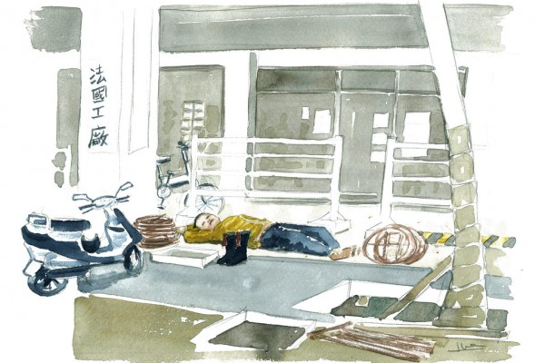 dessin Le dormeur de Xin Sheng Nan Lu