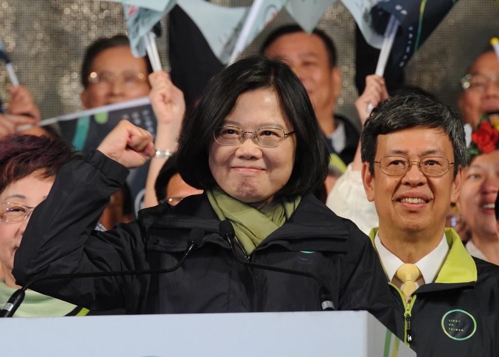Tsai Ing-wen, déclare sa victoire à l'élection présidentielle taïwanaise ce samedi 16 janvier 2016 à Taipei.