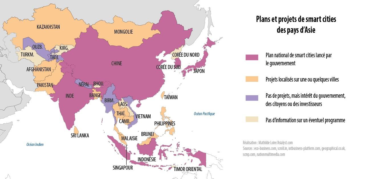 """Les pays en Asie qui ont lancé ou qui projettent de lancer un plan """"villes intelligentes""""."""