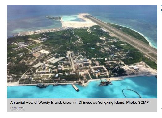 Vue aérienne de Woody Island ou Yongxin Island.