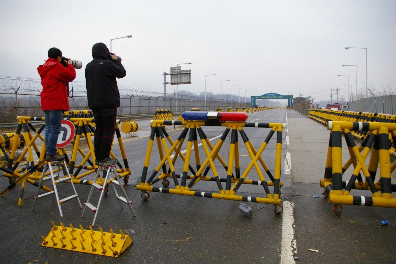Poste frontière de Paju sur la route de Kaesong en Corée du Sud.